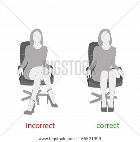 correctly and incorrectly to sit on a chair. medical advice. vector illustration.