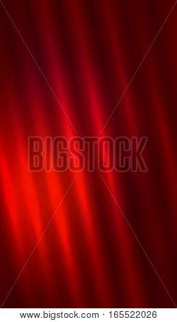 Abstract red background. Vertical diagonal fabric wave. Bright illuminated curtain and dark corners