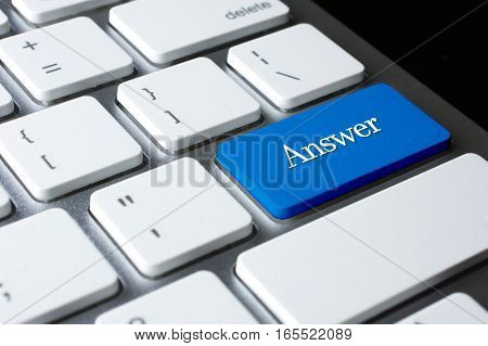 Answer  word on blue color enter keyboard