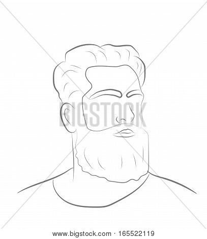 silhouette of a man with a beard. vector illustration.