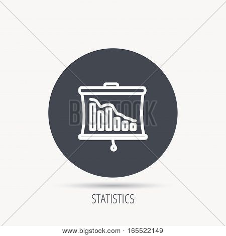 Statistic icon. Presentation board sign. Defaulted chart symbol. Round web button with flat icon. Vector