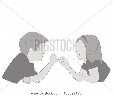 children (boy and girl) holding each other's hands. a symbol of friendship. vector illustration.