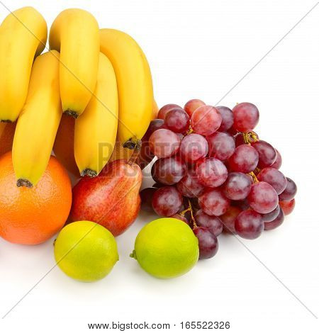 set of fruits isolated on white background