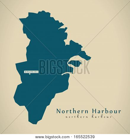 Modern Map - Northern Harbour Malta Mt Illustration