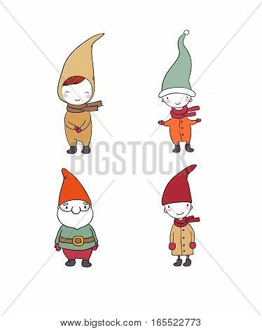 Set of cute cartoon gnomes. Funny elves. isolated objects on white background. Vector illustration.