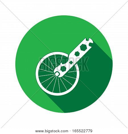 Tool icon. Spanner, nut wrench instrument. Industrial, fixing, service symbol. White sign on round green flat button. Vector