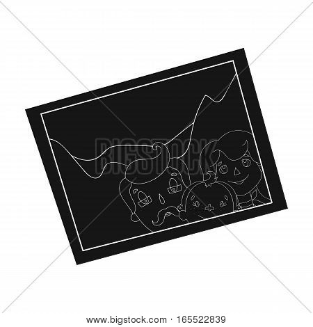 Family photo portrait icon in black design isolated on white background. Family holiday symbol stock vector illustration.