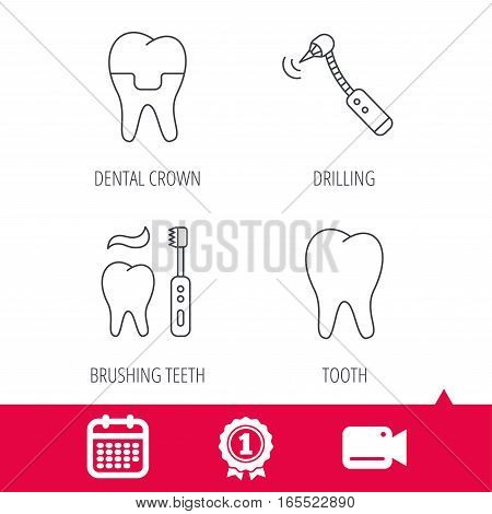 Achievement and video cam signs. Brushing teeth, tooth and dental crown icons. Drilling tool linear sign. Calendar icon. Vector