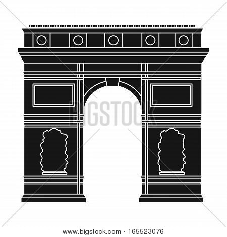 Triumphal arch icon in black style isolated on white background. France country symbol stock vector illustration.