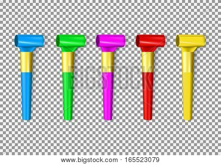 Set of color penny whistle. Top view on vector objects isolated on transparent background.