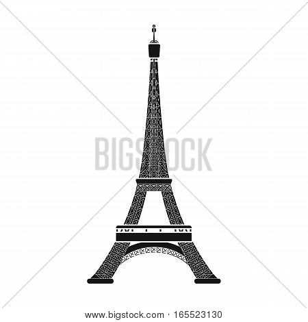 Eiffel tower icon in black design isolated on white background. France country symbol stock vector illustration.