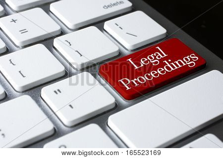 Law concept: Legal Proceedings on white keyboard