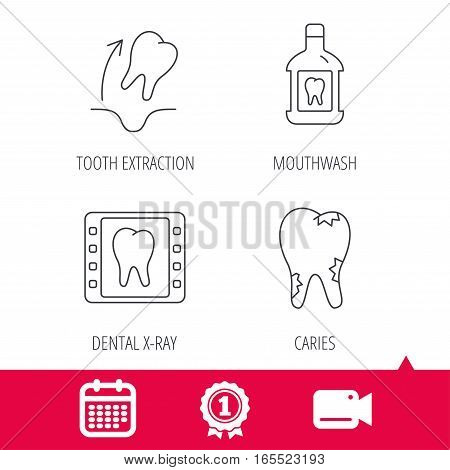 Achievement and video cam signs. Tooth extraction, caries and mouthwash icons. Dental x-ray linear sign. Calendar icon. Vector