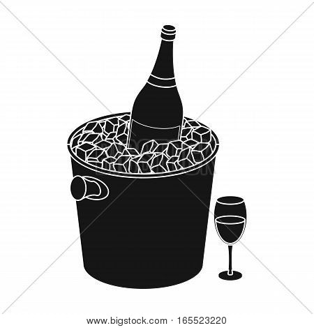 Champagne bottle in an ice bucket icon in black desgn isolated on white background. France country symbol stock vector illustration.