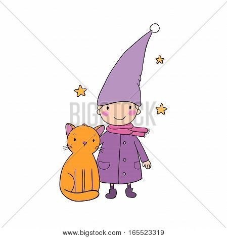 A cute little gnome, a kitten and stars.Hand drawn vector illustration on a white background. Funny elves.