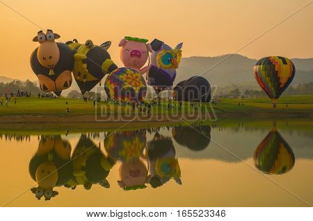 CHIANG RAI, THAILAND - FEBRUARY 14 : Love Hot air balloon at SINGHA PARK CHIANG RAI BALLOON FIESTA 2016 , Chiang rai province, Thailand