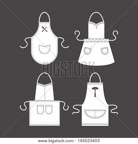 Template Empty Blank White Apron Set. Protective Uniform for Kitchen Home, Restaurant and Cafe. Vector illustration