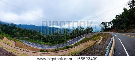 Beautiful road 1081 in Nan province of Thailand