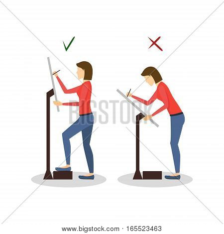 Correct or Incorrect Positions for Artist Painter Work Health Care Concept. Flat Design Style. Vector illustration
