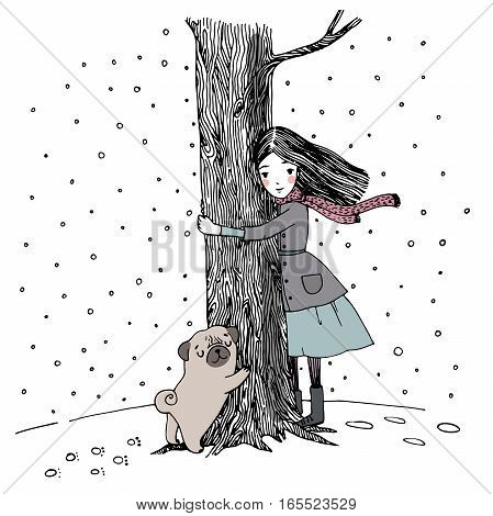 Beautiful young girl and a cute pug on a white background. Hand drawn vector.