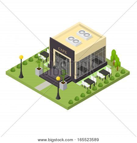 Cafe Building Isometric View Element Urban Architecture Modern Exterior Facade and Sidewalk. Vector illustration