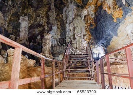 Stalagmites and stalactite in Phupaphet Cave Satun south of Thailand.