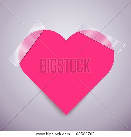Cute pink sticker in form of heart attached with a scotch tape. Vector illustration