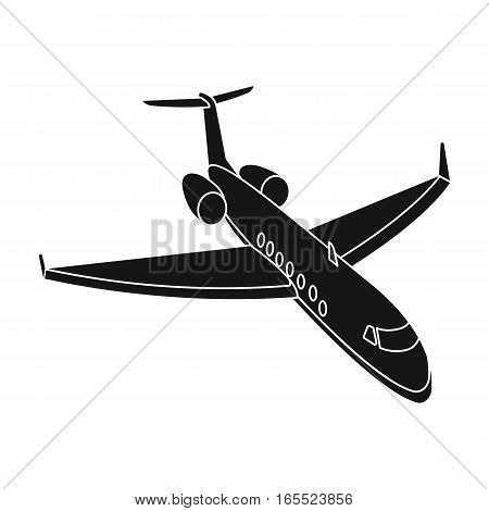 Airplane icon in black design isolated on white background. Rest and travel symbol stock vector illustration.