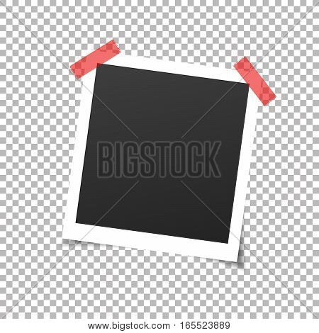 Photo frame, sticky tape. Photo frame with adhesive tapes. Vector illustration with transparent shadow.