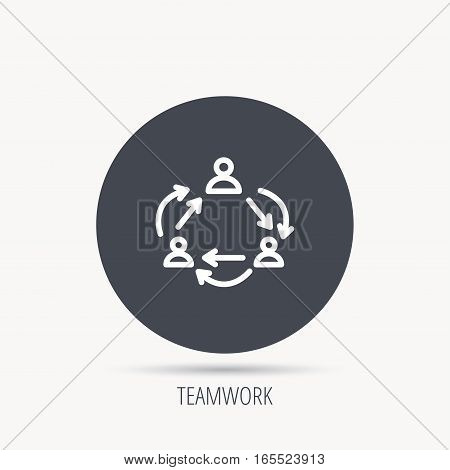 Teamwork icon. Office working process sign. Communication employees symbol. Round web button with flat icon. Vector