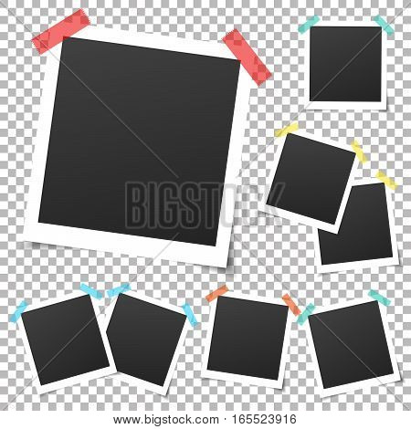 Collection of vintage vector template photo frames with adhesive tape. Mockup photo frame set Isolated on transparent background. Design for your photography and picture. Vector retro Illustration.