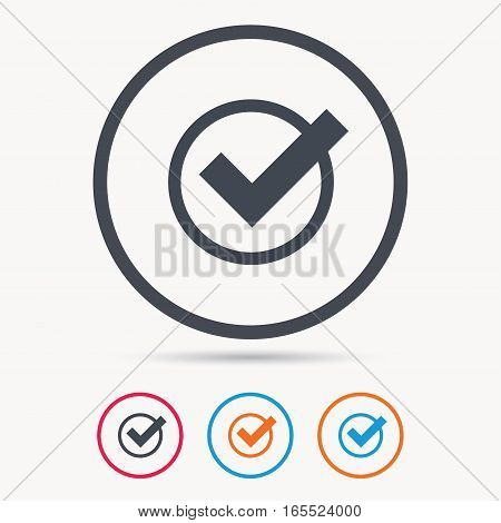Tick icon. Check or confirm symbol. Colored circle buttons with flat web icon. Vector