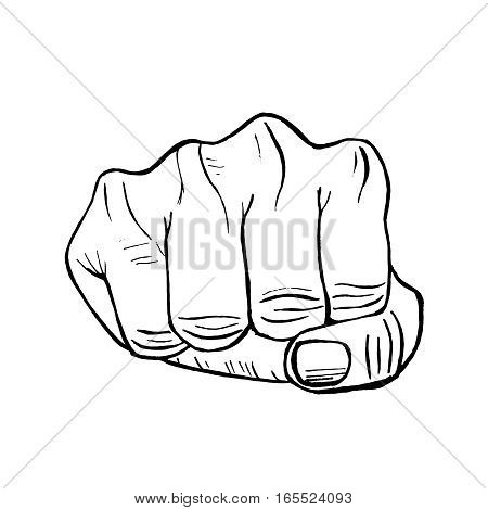 Fist Hand Draw Sketch Clenched Hand Protest Concept Retro Design. Vector illustration