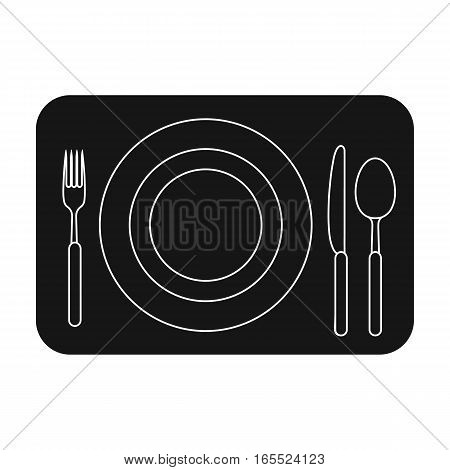 Served table icon in black design isolated on white background. Rest and travel symbol stock vector illustration.