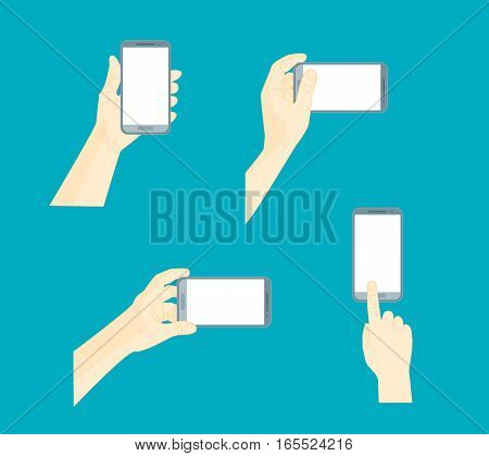 Human Hand Using Mobile Smart Phone Set for Web and App on Blue Background . Vector illustration