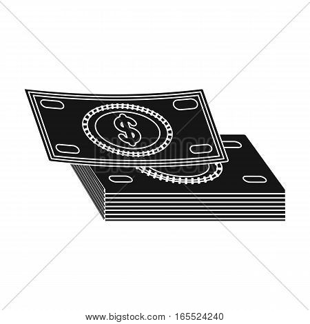 Pile of cash icon in black design isolated on white background. Rest and travel symbol stock vector illustration.