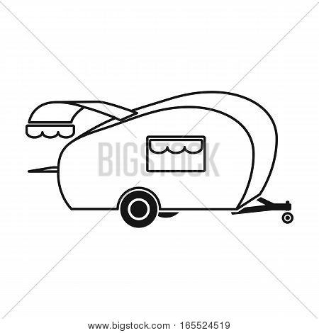 Caravan icon in black design isolated on white background. Picnic symbol stock vector illustration.