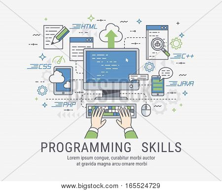 Programming and coding skills. Web site development and debugging. Line-art vector illistration.