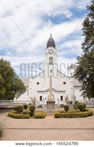 JACOBSDAL SOUTH AFRICA - DECEMBER 24 2016: The Dutch Reformed Church in Jacobsdal a small town in the Free State Province.