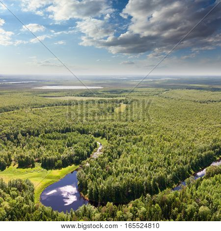 Aerial view of lowland of forest river a summer during a flight.
