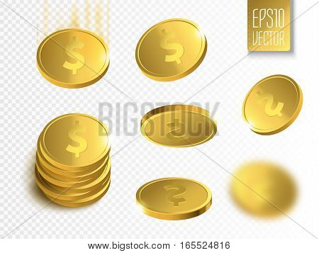 Vector Illustration of golden coins. Money isolated on transparent background.