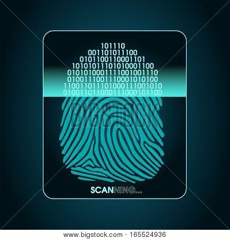 fingerprint scanning - digital biometric security system, data protection
