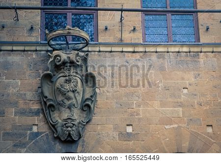 Emblem with a lion on it in florence italy