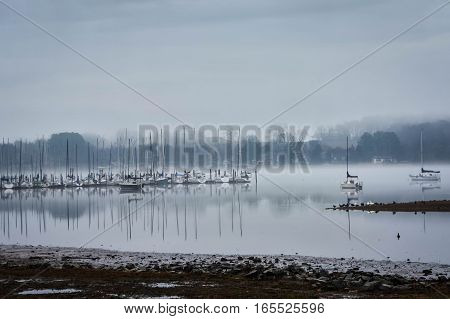 Sail Boats Resting In The Fog, Knoxville Tennessee.