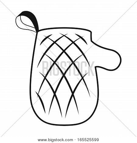 Oven glove icon in black design isolated on white background. Picnic symbol stock vector illustration.