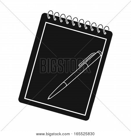 Notebook and pen icon in black design isolated on white background. Hipster style symbol stock vector illustration.