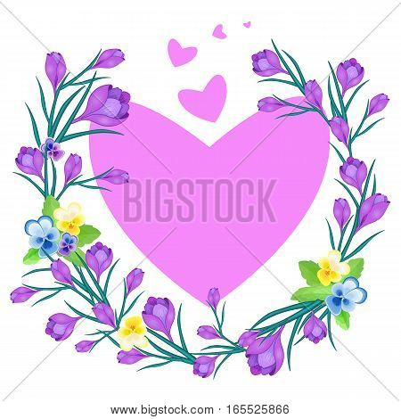 Vector illustration with Crocus or saffron, pansies and hearts.floral wreath of flowers .Can be used as frame, greeting cards, wedding invitations, Valentine's Day, birthday, spring or summer holiday.