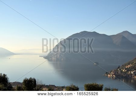 An suggestive view of Lake Iseo at sunset - Lombardy - Italy