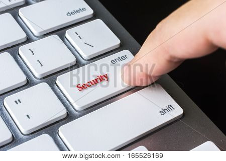 Finger on computer keyboard keys with Security word