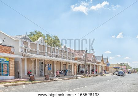 JAGERSFONTEIN SOUTH AFRICA - DECEMBER 31 2016: A street scene in Jagersfontein a diamond mining town in the Free State Province of South Africa
